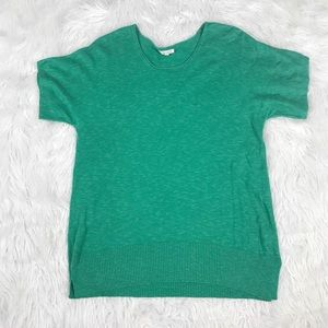 Eileen Fisher Bright Green Linen Short Sleeve Top
